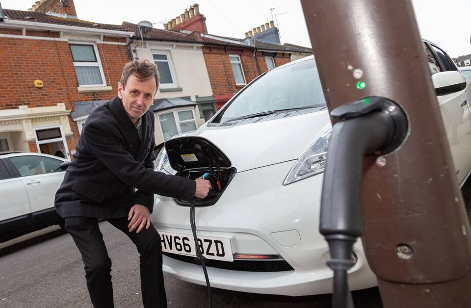 Electric Instructor Charging Nissan Leaf